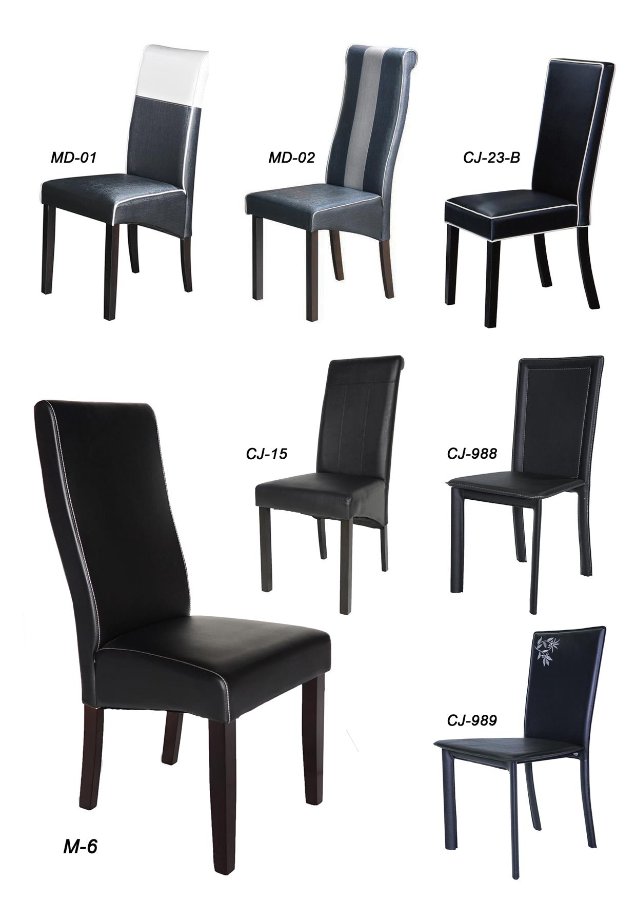 MD-02 PREMIUM PU LEATHER RESTAURANT CAFE DINING ROOM CHAIR TABLE BLACK