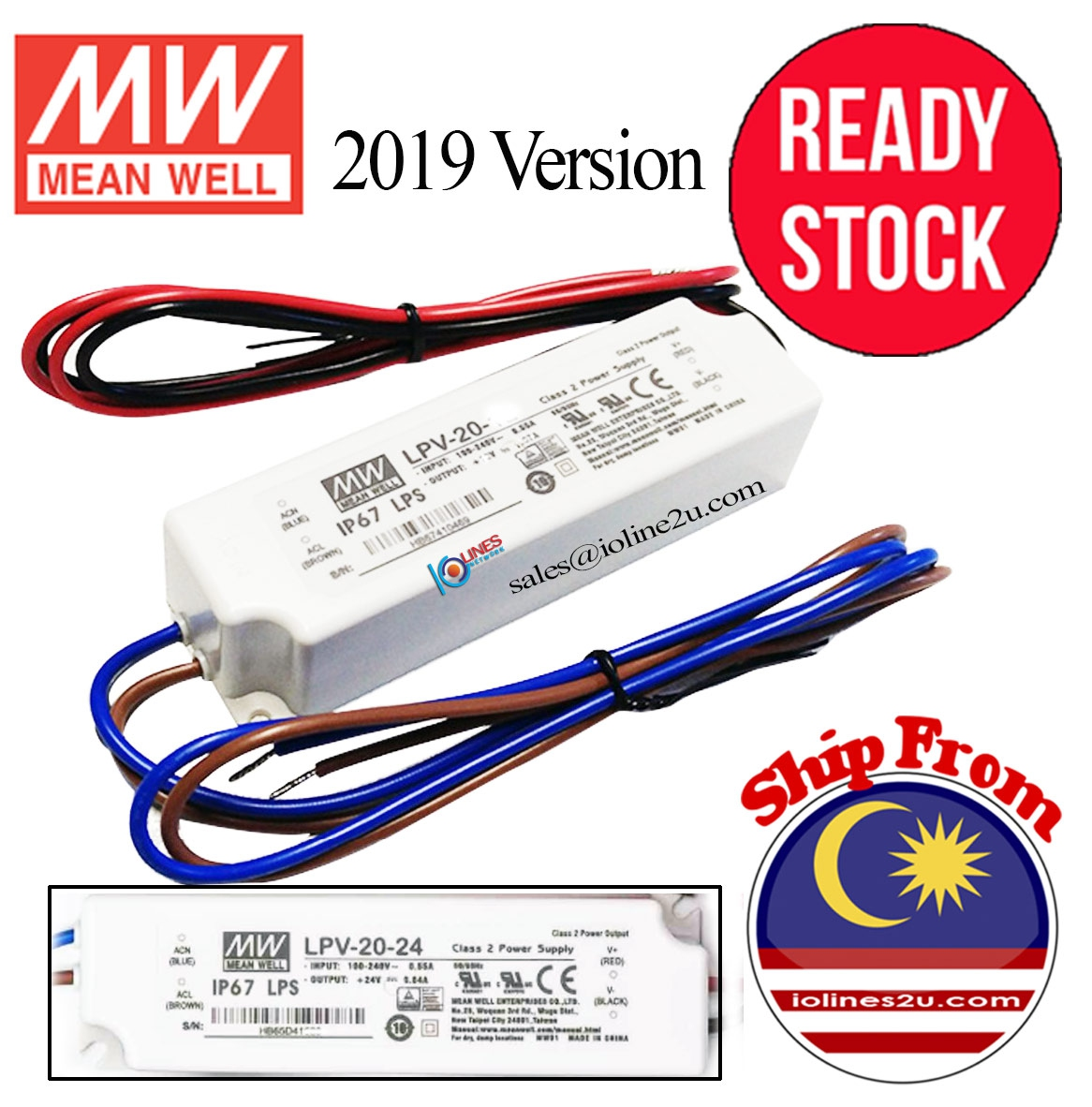 Meanwell Mean well LPV-20-24 24V 0.8A PSU Power Supply Water proof Fully Seale