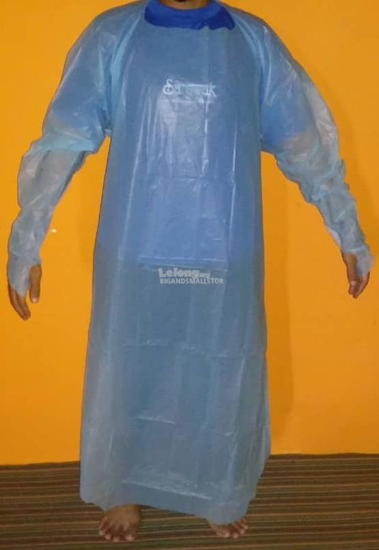 Medical Disposable CPE Plas Isolation Gown Blue Waterproof Covid-19 ZZ