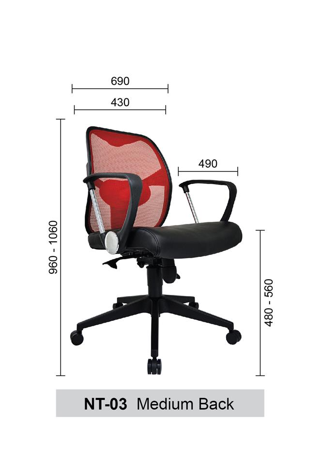 Medium Back Mesh Home & Office Chair (Netting Chair) - NT-03-MB