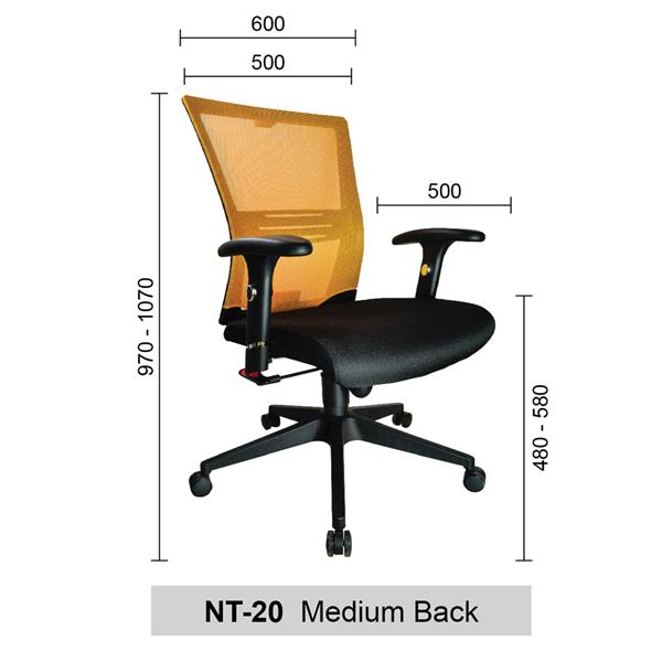 Medium Back Mesh Home & Office Chairs (Netting Chairs) - NT-20-MB