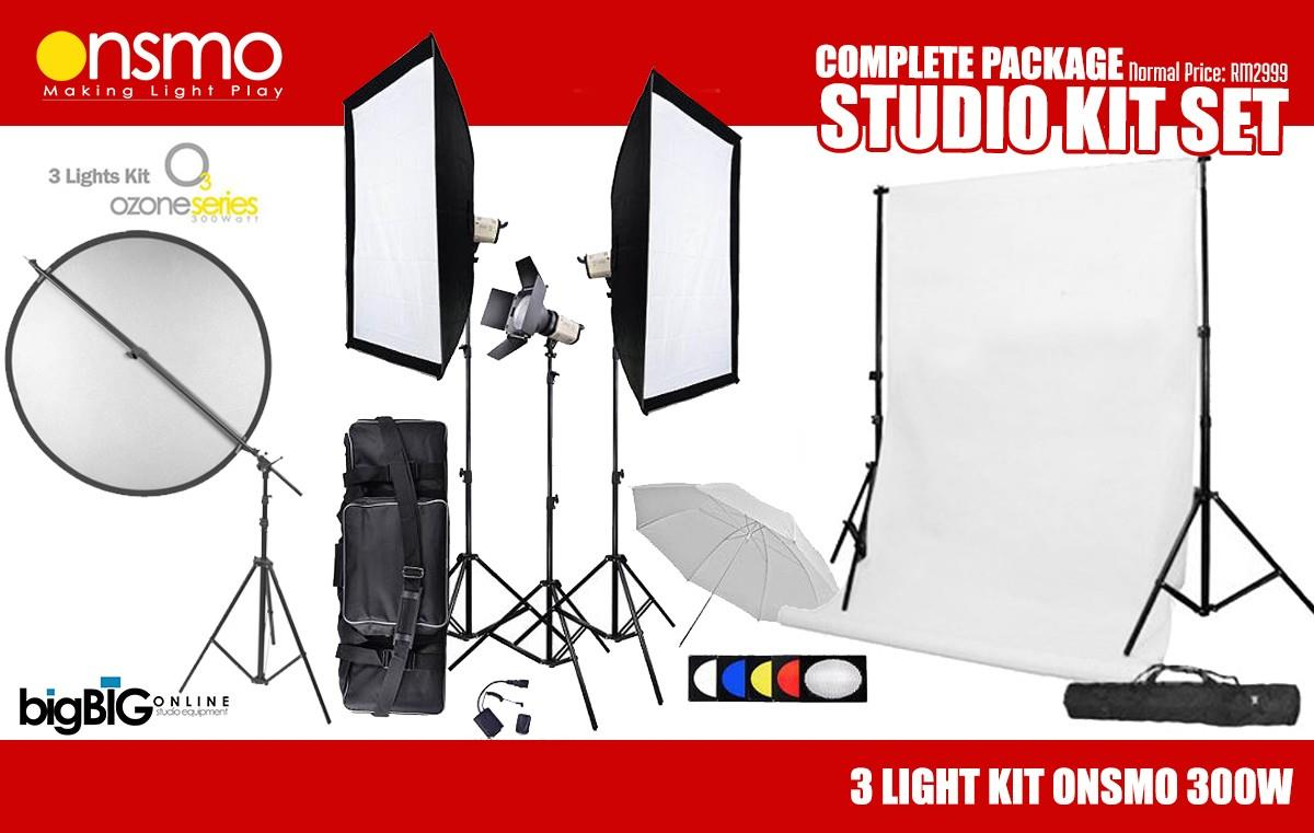 Medium Studio Setup Package (Onsmo 300W x 3 Lights Kit) Be the first t