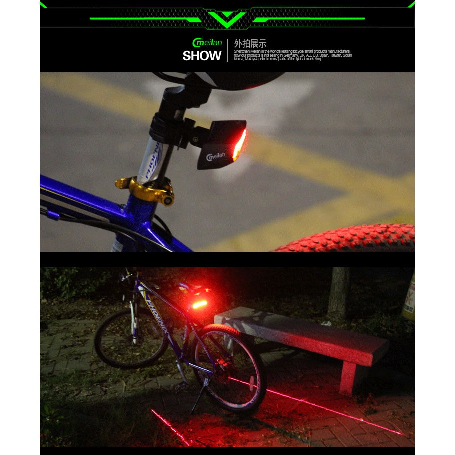 Meilan X5 Smart Cycling Laser Light Brake Taillight Bicycle USB Rechargeable B