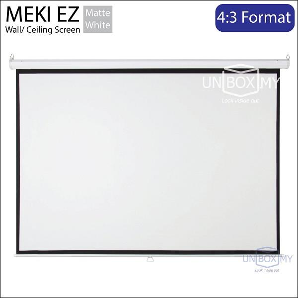 "MEKI Manual Wall Projector Screen 12' x 9' (180""D) Matte White"