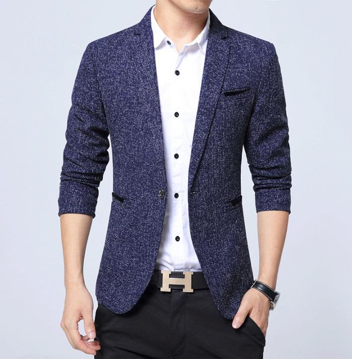 Business Casual 2020 Mens.Men Business Blazer Casual Cotton Slim Korea Style Suit Blazer