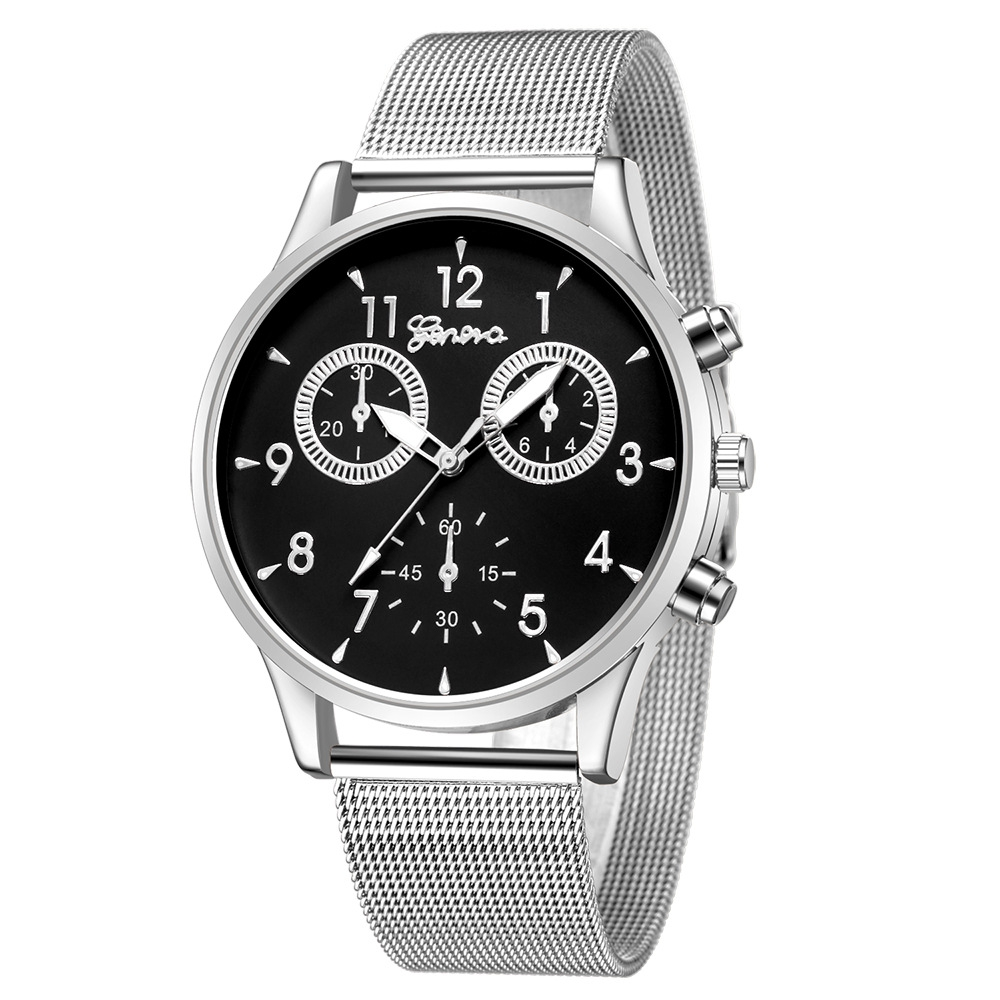 Men' Business Watches - GENEVA Men Business Casual Stainless Steel Mes..
