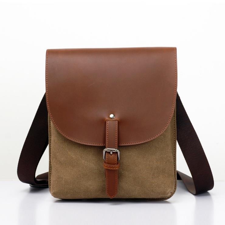 6379d4de4550 Men Canvas Leather Vertical Sling Shoulder Cross Body Bag. ‹ ›