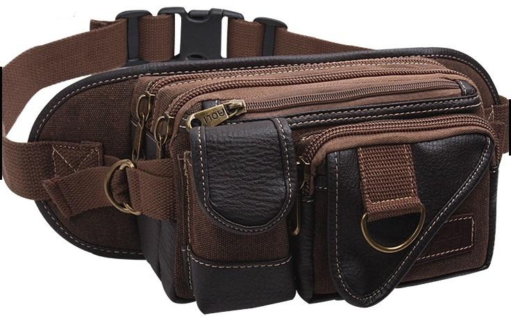 Men Canvas Waist Pouch Bag - Sling Shoulder Cross Body Chest
