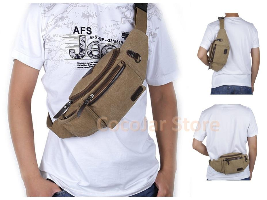 Men Canvas Waist Sling Shoulder Cross Body Casual Bag