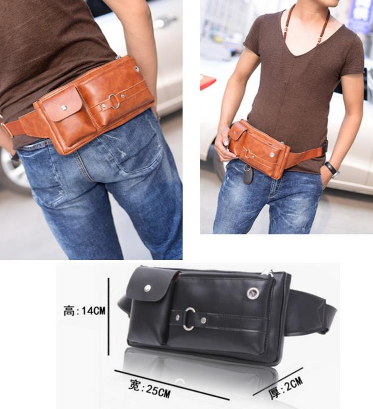 Men Chest Bag Waist Bag Pouch PU 861
