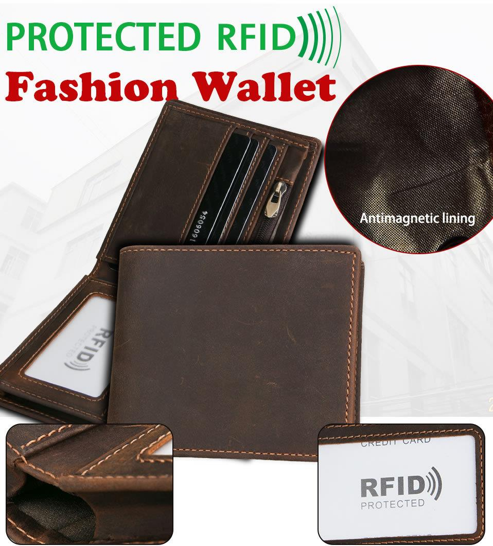 Men Crazy Horse Cowhide Leather Short Wallet RFID Protected (Brown)