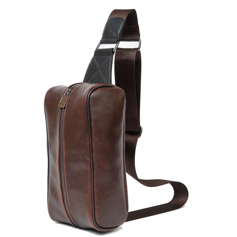 Men Crazy Horse PU Leather Chest Shoulder Sling Bag (Brown)