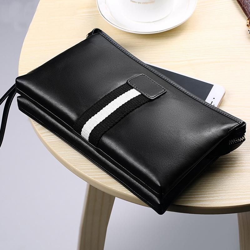 Men Double Compartments PU Leather Clutch Bag (Black / Blue)