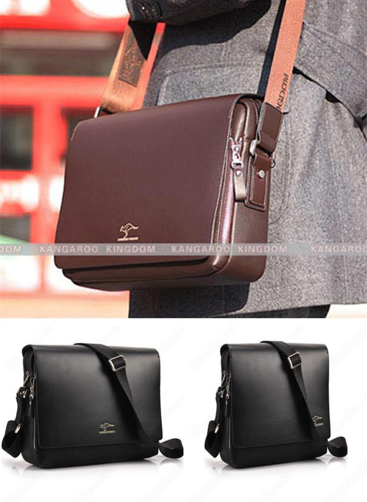Men Genuine Leather Kangaroo Shoulder Messenger Bag/Briefcase/Satchel