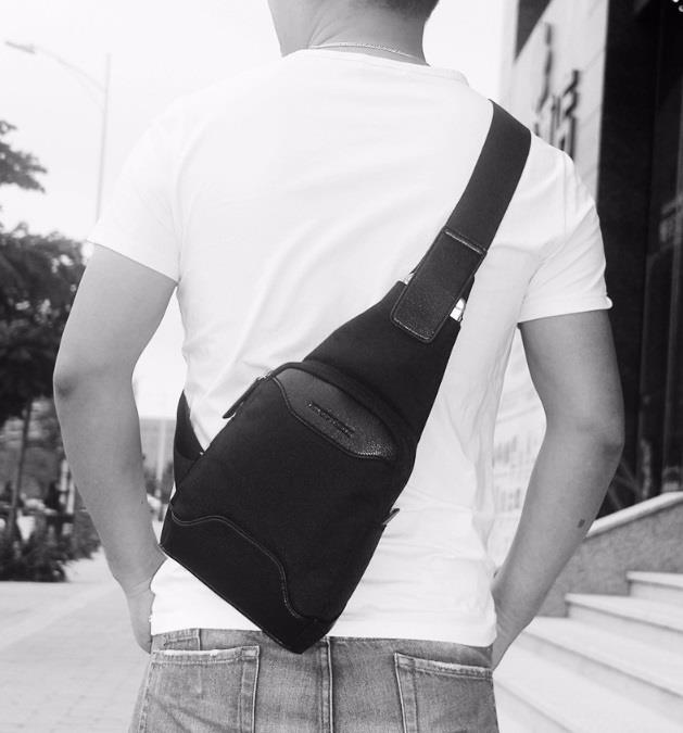 Men High Quality Oxford Black Sling Shoulder Chest Cross Body Bag