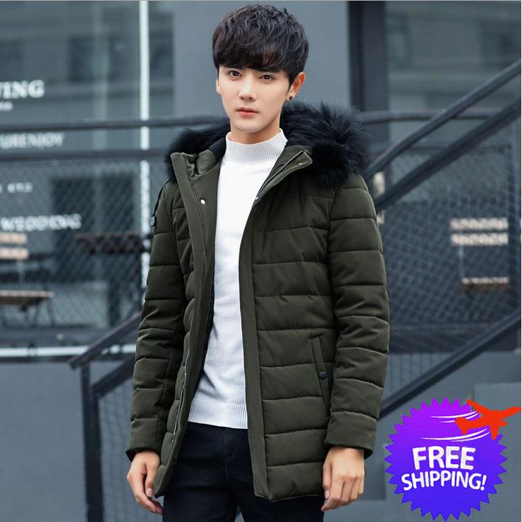 Men Hooded Long Sleeve Down Feather Winter Autumn Jacket Coat