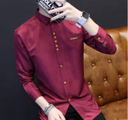 0824d4c33c661 Men Korean Fashion Long Sleeved Slim Solid Color Casual Shirt