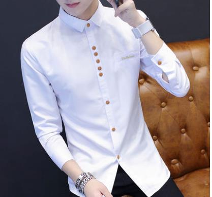 74ab37b0f8efb Men Korean Fashion Long Sleeved Slim Solid Color Casual Shirt. ‹ ›