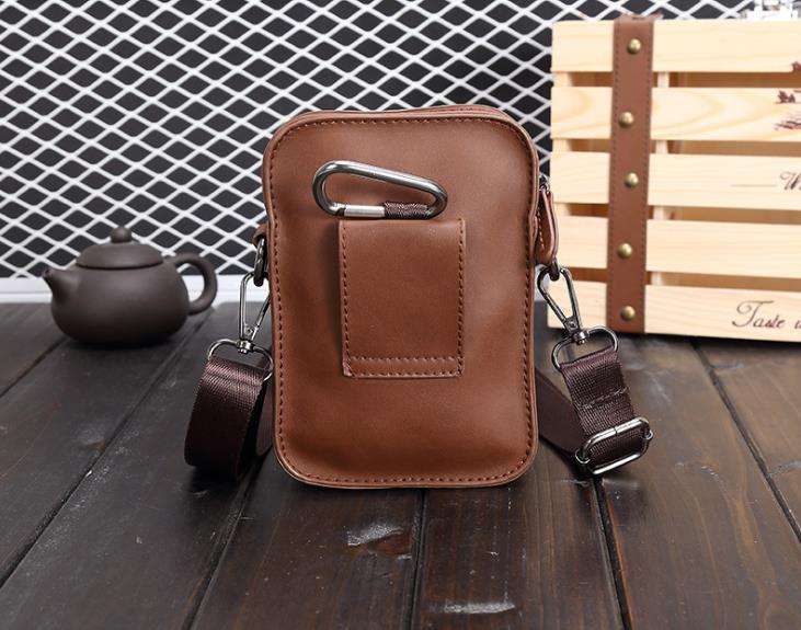 Men leather Bag Shoulder Outdoor Mini Waist Bag Man Mobile Phone 33ccdb91a3