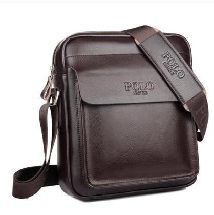 Men Leather Polo Sling Bag Messenger Business