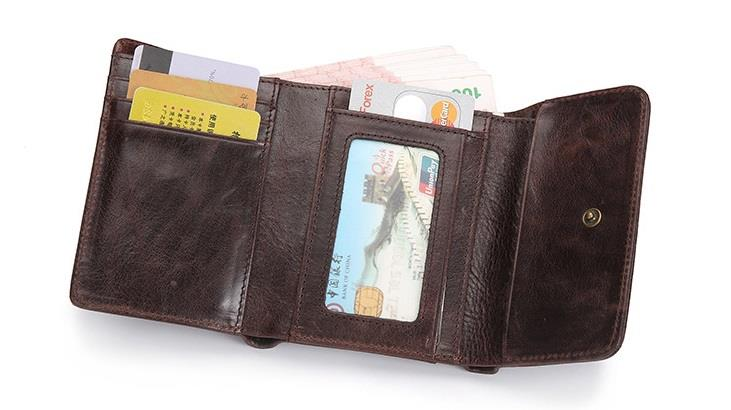 Men Leather Trifold Wallet (Brown)