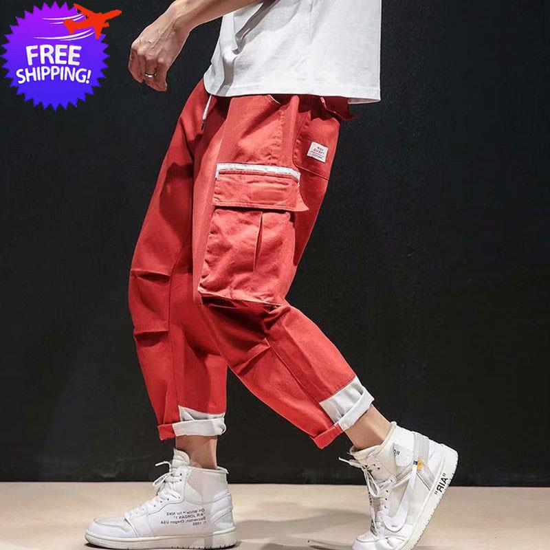 Men Multi Pockets Loose Fit Hip Hop Long Pants