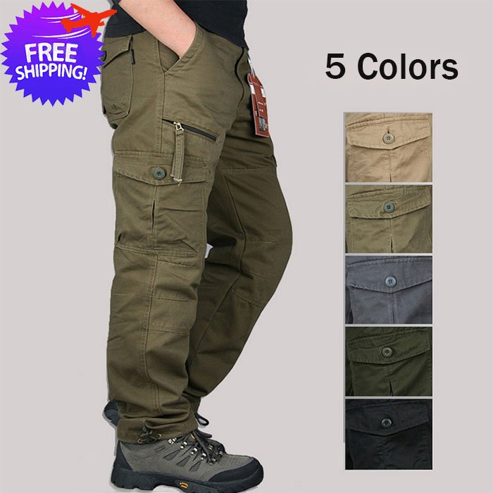 Men Multi-Pockets Outdoor Hiking Long Trouser Pants