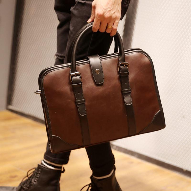 Men PU Leather Shoulder Sling Business Bag Design 2 (Brown)
