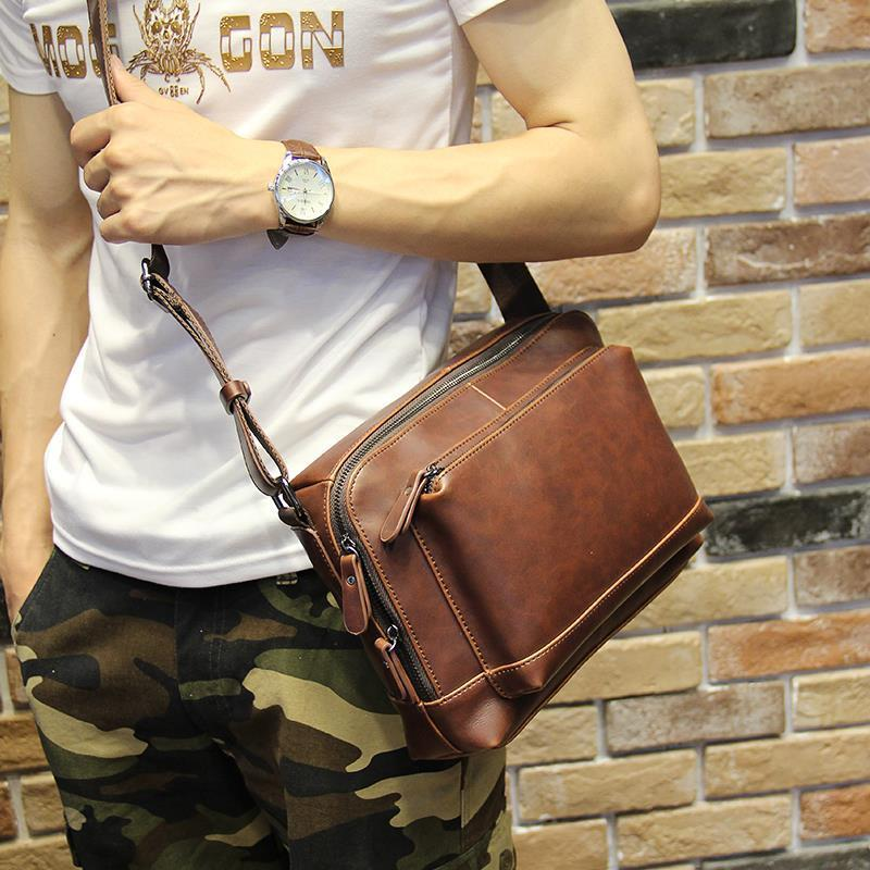 Men Retro Crazy Horse Pu Leather Sling Cross Body Messenger Bag