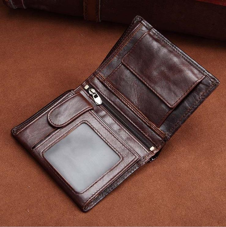 Men Retro Vintage Crazy Horse Leather Wallet (Brown)