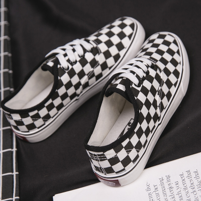 7f7d9a0f4d Men's Black and White Plaid Shoes Street Student Shoes Thick Bottom Ca