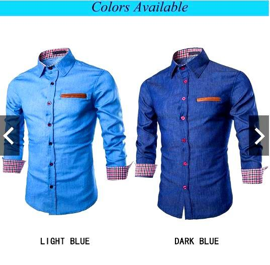 92393261 New Men's Casual Shirt Slim Fit Long Sleeve Dress Shirt Jeans Denim ...