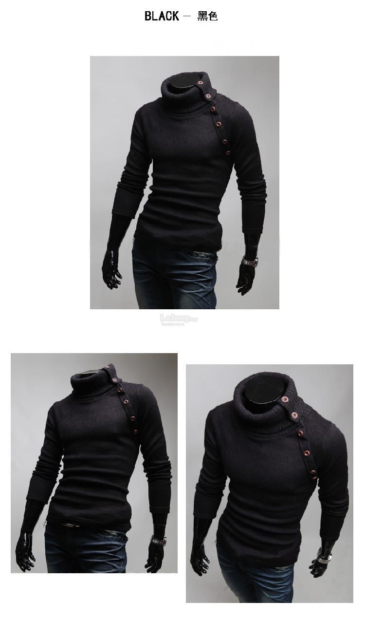 c8f58f40cd93 Men's Casual Slim Turtleneck Turtleneck Solid Color Sweater Sweater