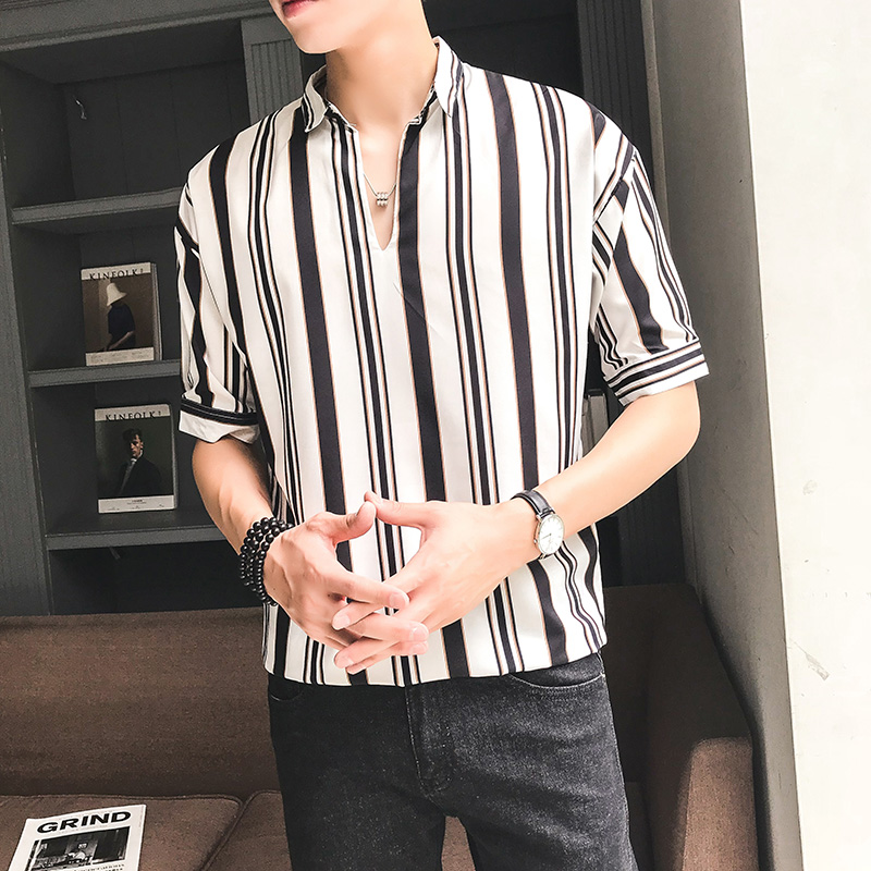 3f9c9e225e Men's Striped Polo Collared Half Sleeves Summer Fashion Slim Fit Male. ‹ ›
