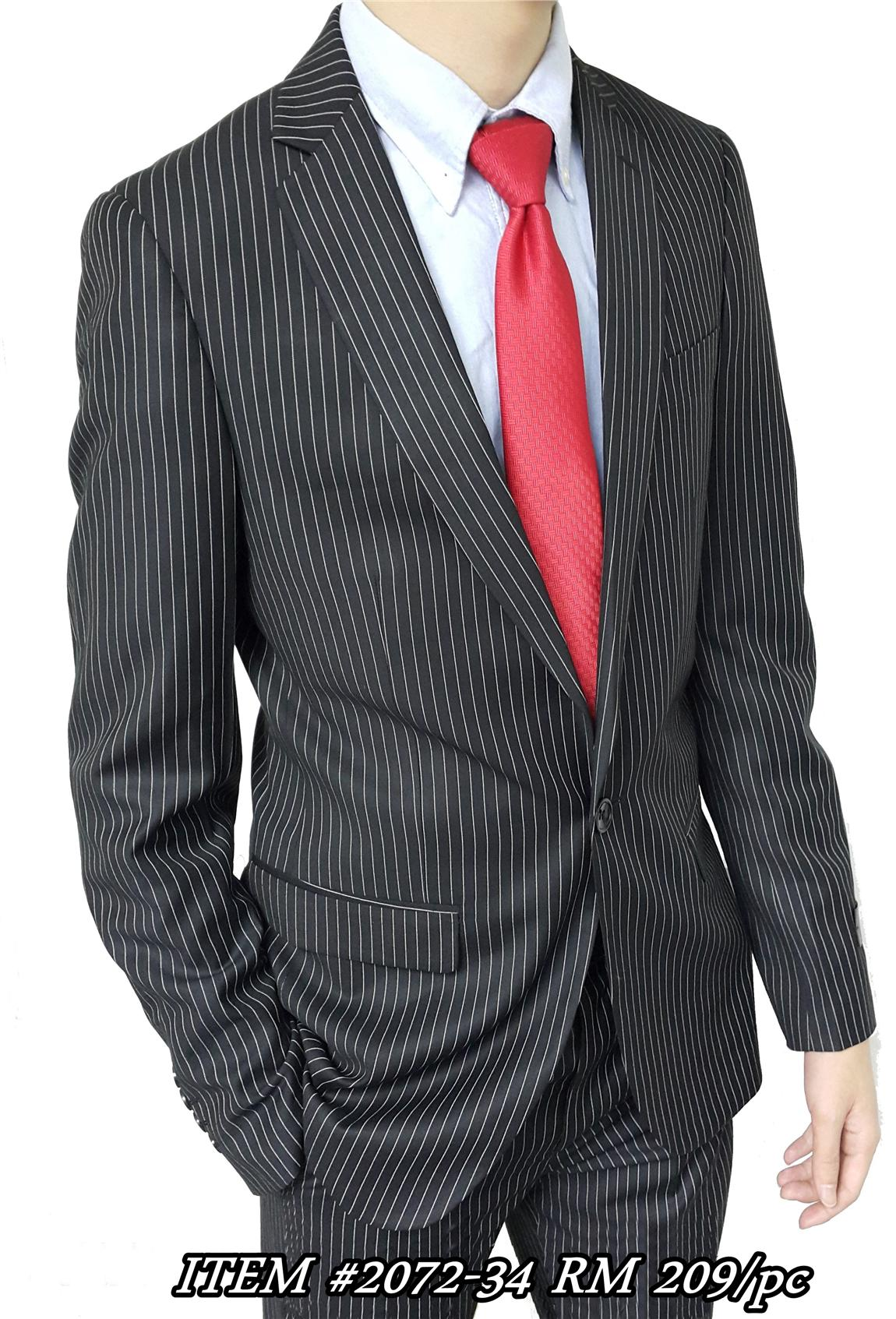 Take any outfit to handsome completion with this men's blazer. Its navy blue fabric is accented by a subtle set of vertical white stripes. Notched lapels and a center vent speak to classic style. Traditional fit. Two-buttoned front closure.
