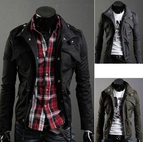 79ab92e6acbc Men Stylish Stand Collar Slim Fit Jacket Coats Military Style. ‹ ›