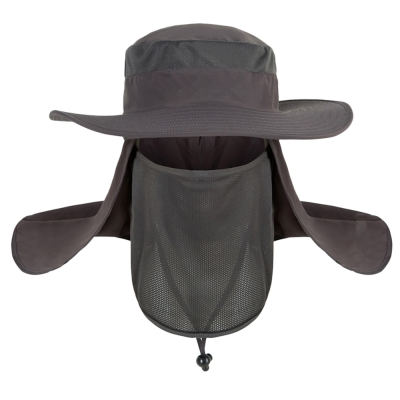 42d33d03a7d95 Men Summer Outdoor Fishing Cap 360 Degree UV Protection (DARK GRAY)