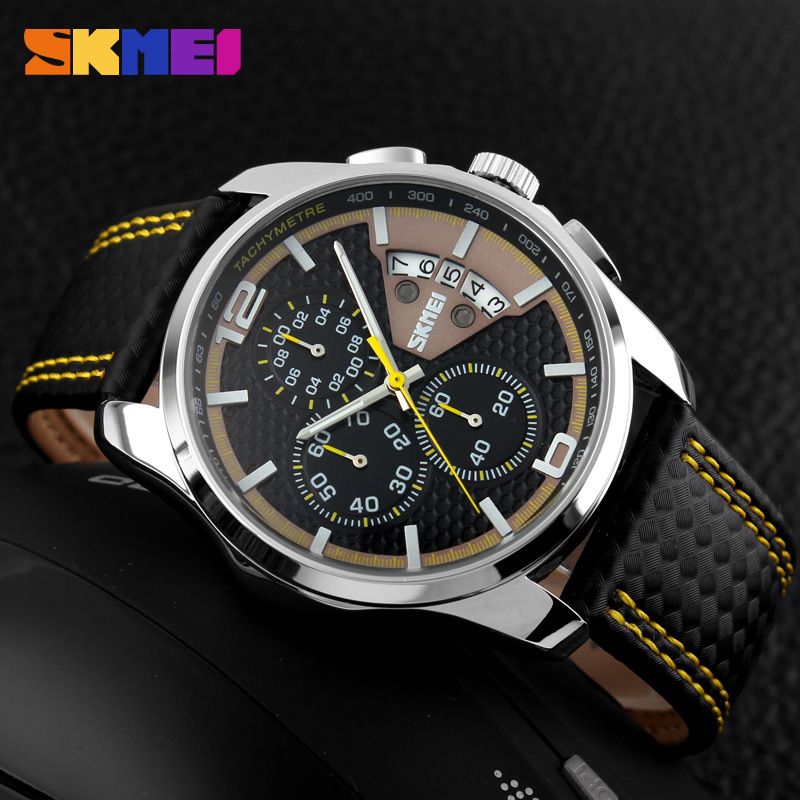 Men Wear SKMEI 3 Subdial and Date Quartz Watch SKM9106 YELLOW