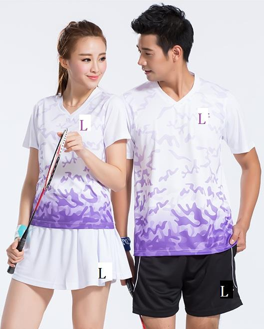 Men Women Badminton Shirt and Short Pants / Short Skirts Set (818)