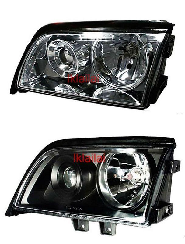 Mercedes Benz W202 94-00 Projector Head Lamp Black/Chrome Housing