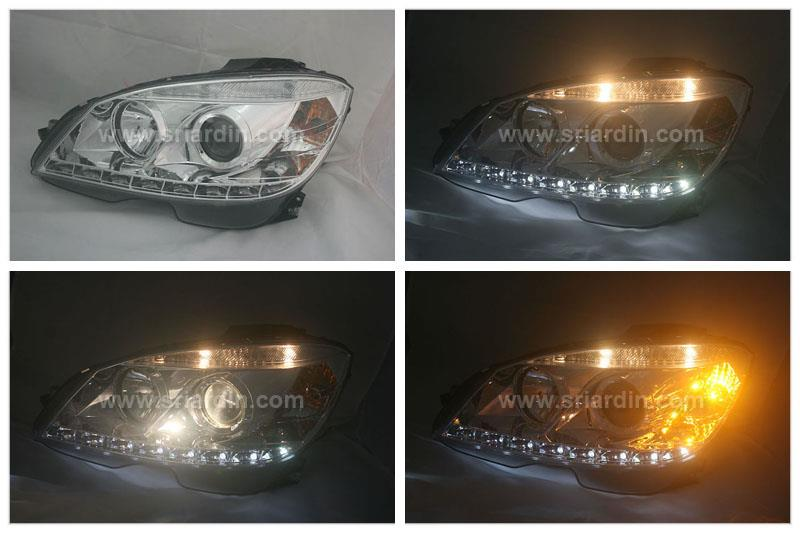 Mercedes C-Class W204 07 Chrome Projector Headlamp w LED