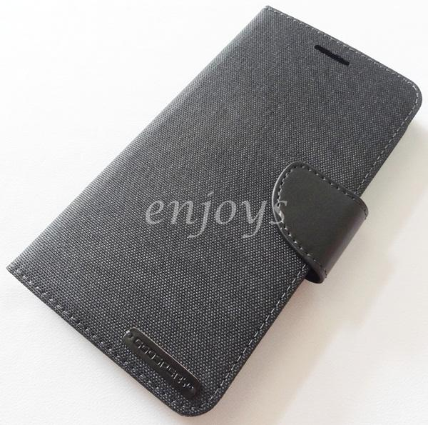 Mercury Canvas Diary Case Book Cover Huawei Ascend Mate 7 ~BLACK *XPD