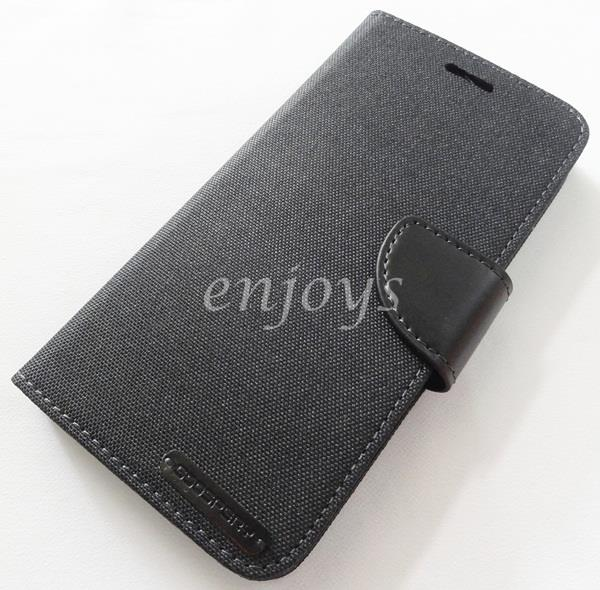 Mercury Canvas Diary Case Cover Samsung Galaxy A8 / A800F ~BLACK *XPD