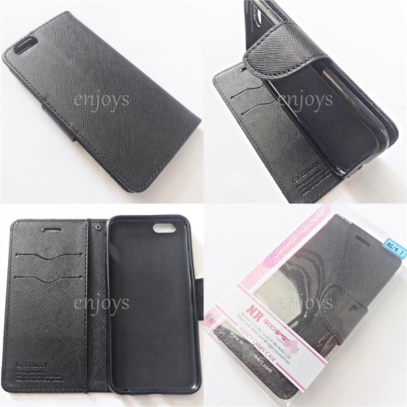 "MERCURY Fancy Diary Book Case Cover Apple iPhone 6 6S ~4.7"" ~BLACK"