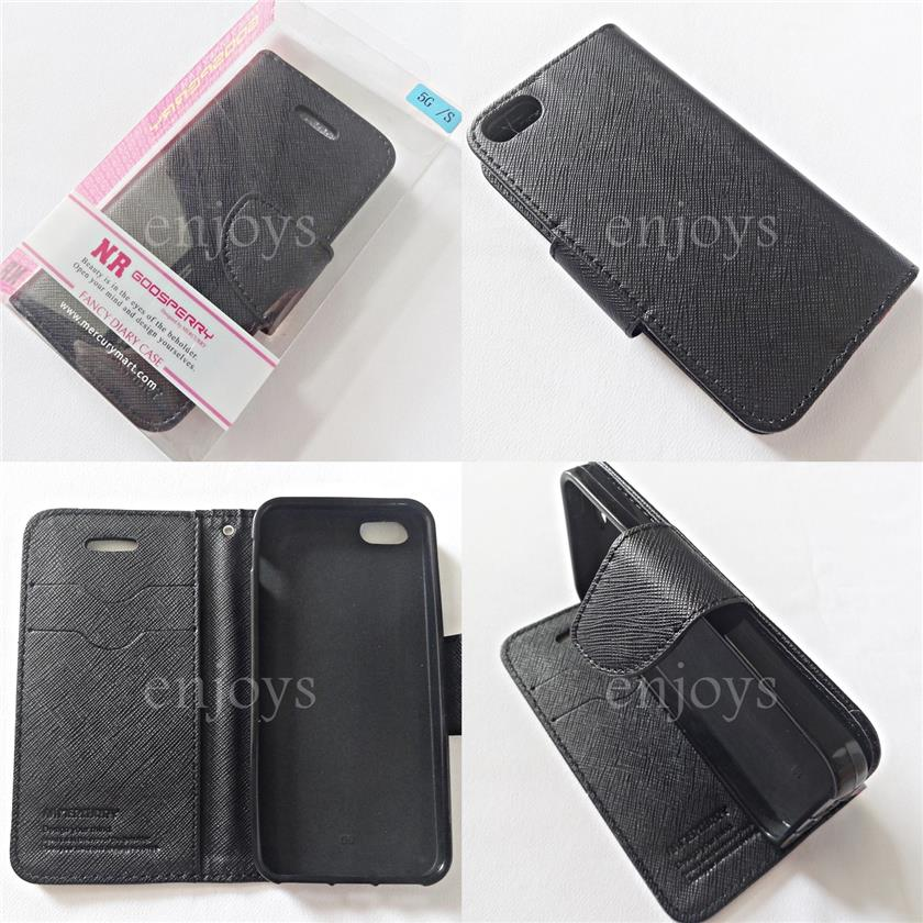 MERCURY Fancy Diary Book Case Cover Pouch Apple iPhone 5 5S ~ALL BLACK