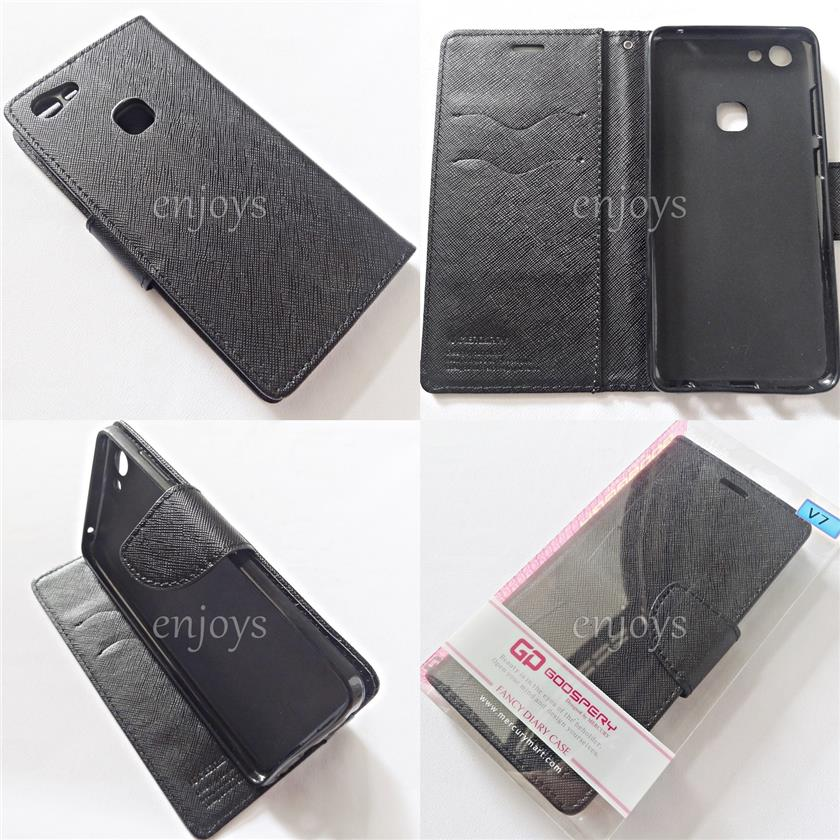 MERCURY Fancy Diary Book Case Flip Cover for vivo V7 (5.7) ~BLACK *XPD