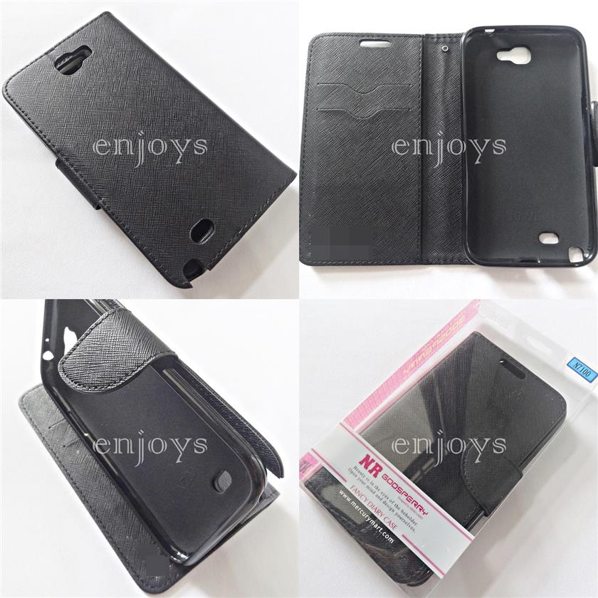 MERCURY Fancy Diary Book Case Samsung Galaxy Note 2 N7100 ~ALL BLACK