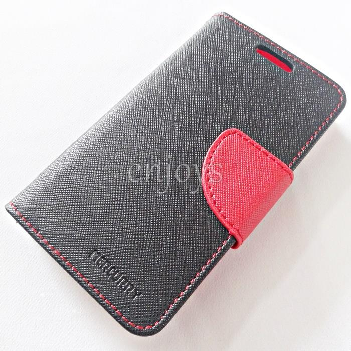 MERCURY Fancy Diary Book Case Samsung Galaxy V G313HZ /Ace 4 ~BLK/RED