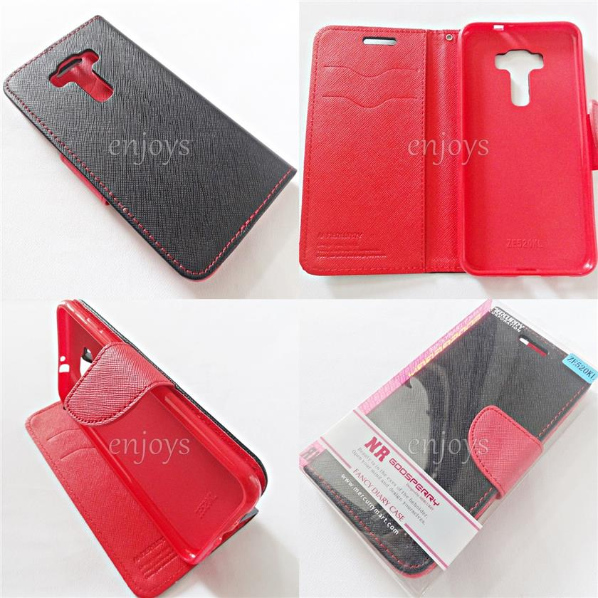 MERCURY Fancy Diary Case Cover Asus ZenFone 3 / ZE520KL ~BLACK /RED