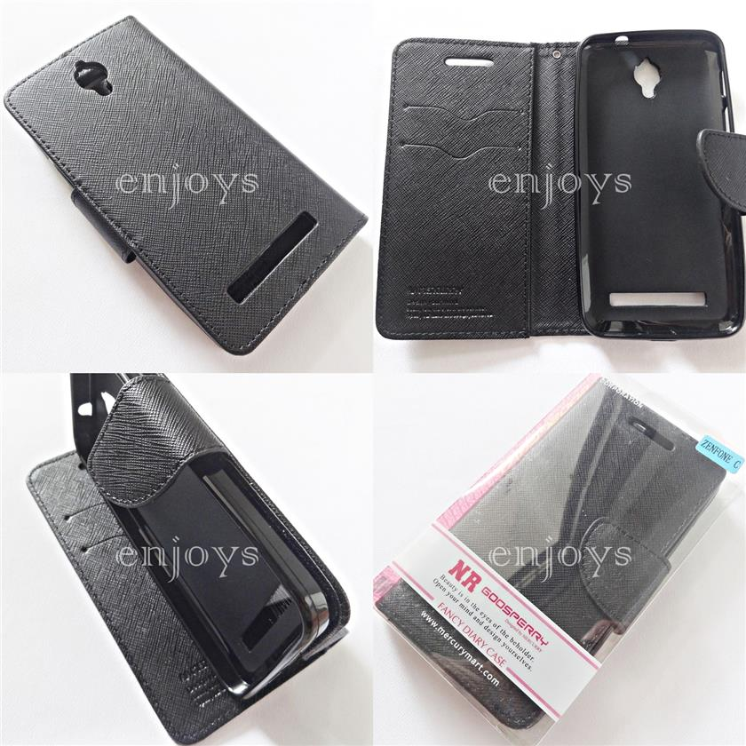 MERCURY Fancy Diary Case Cover Asus Zenfone C / ZC451CG ~BLACK *XPD